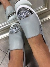 LU BOO SLIP ON SHOES WITH GLITTER JEWELS