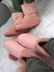 PINK SLIP ON FUR ANKLE SNOW BOOTS
