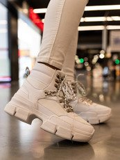 White Micro Chunky Lace-Up Sneakers