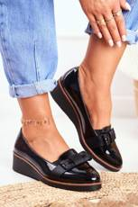 Women's Brogues on Wedge Lacquered Black Milona