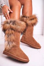 Women's Snow Boots With Fur Leather Suede Camel Balvin